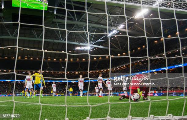 Andrei Gorbunov of Belarus loses the ball into the goal after Emil Forsberg of Sweden has shot to make it 20 during the FIFA 2018 World Cup Qualifier...