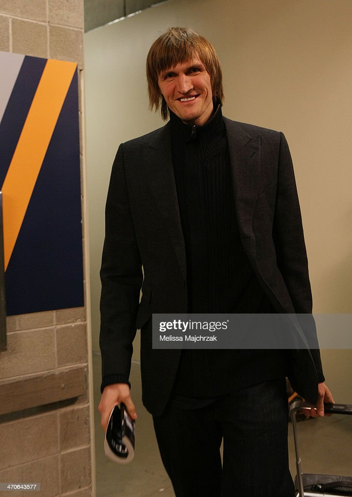 <a gi-track='captionPersonalityLinkClicked' href=/galleries/search?phrase=Andrei+Kirilenko&family=editorial&specificpeople=201909 ng-click='$event.stopPropagation()'>Andrei Kirilenko</a> #47 of the Brooklyn Nets arrives for his matchup against the Utah Jazz at EnergySolutions Arena on February 19, 2014 in Salt Lake City, Utah.