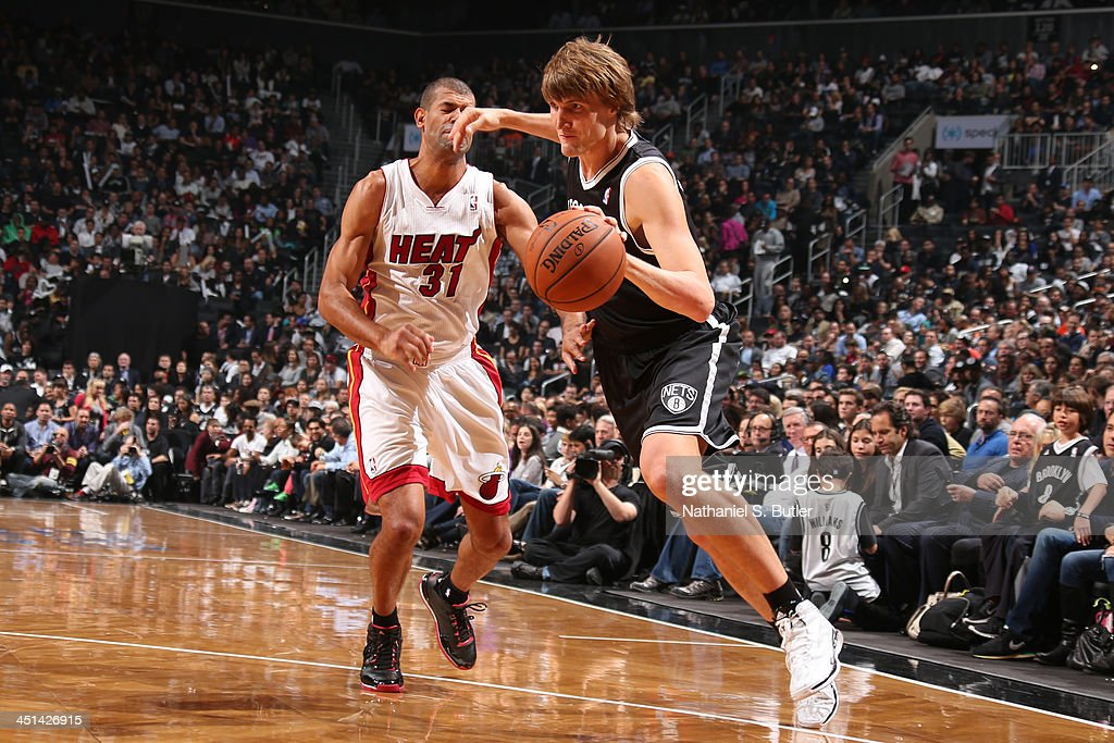<a gi-track='captionPersonalityLinkClicked' href=/galleries/search?phrase=Andrei+Kirilenko&family=editorial&specificpeople=201909 ng-click='$event.stopPropagation()'>Andrei Kirilenko</a> #47 of the Brooklyn Nets drives to the basket against the Miami Heat at Barclays Center on November 1, 2013 in the Brooklyn borough of New York City.