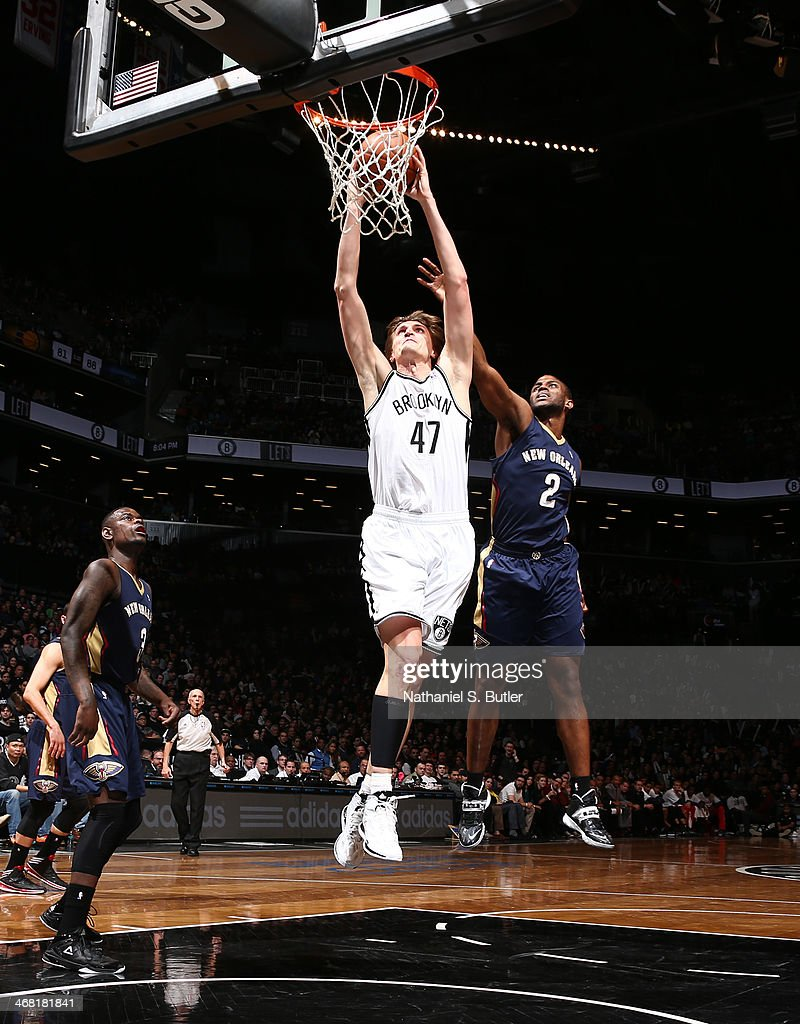 <a gi-track='captionPersonalityLinkClicked' href=/galleries/search?phrase=Andrei+Kirilenko&family=editorial&specificpeople=201909 ng-click='$event.stopPropagation()'>Andrei Kirilenko</a> #47 of the Brooklyn Nets dunks against the New Orleans Pelicans during a game at the Barclays Center on February 9, 2014 in the Brooklyn borough of New York City.