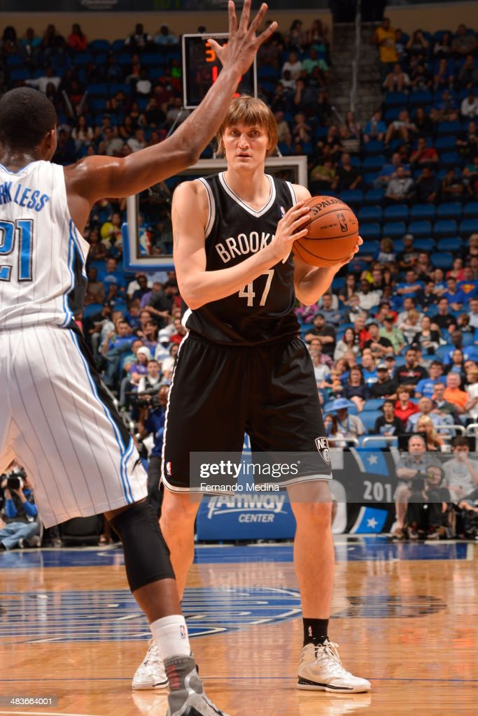 Andrei Kirilenko #47 of the Brooklyn Nets looks on against the Orlando Magic during the game on April 9, 2014 at Amway Center in Orlando, Florida.