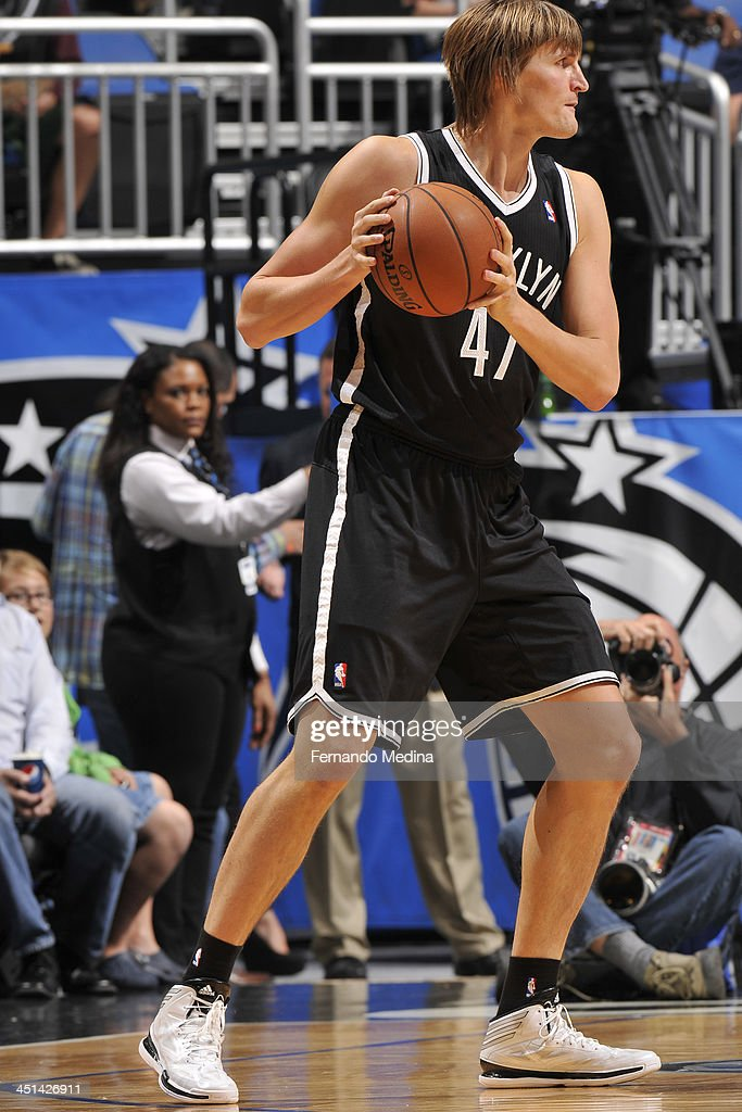 <a gi-track='captionPersonalityLinkClicked' href=/galleries/search?phrase=Andrei+Kirilenko&family=editorial&specificpeople=201909 ng-click='$event.stopPropagation()'>Andrei Kirilenko</a> #47 of the Brooklyn Nets looks to pass the ball against the Orlando Magic on November 3, 2013 at Amway Center in Orlando, Florida.