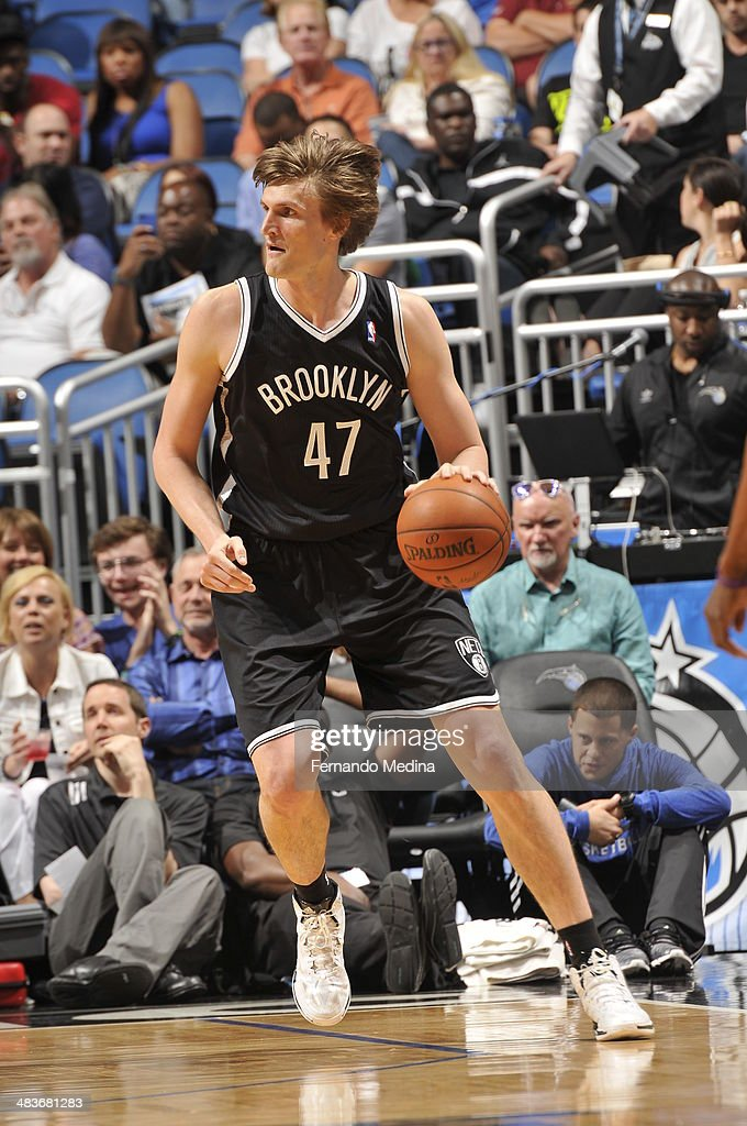 <a gi-track='captionPersonalityLinkClicked' href=/galleries/search?phrase=Andrei+Kirilenko&family=editorial&specificpeople=201909 ng-click='$event.stopPropagation()'>Andrei Kirilenko</a> #47 of the Brooklyn Nets looks to pass the ball against the Orlando Magic during the game on April 9, 2014 at Amway Center in Orlando, Florida.