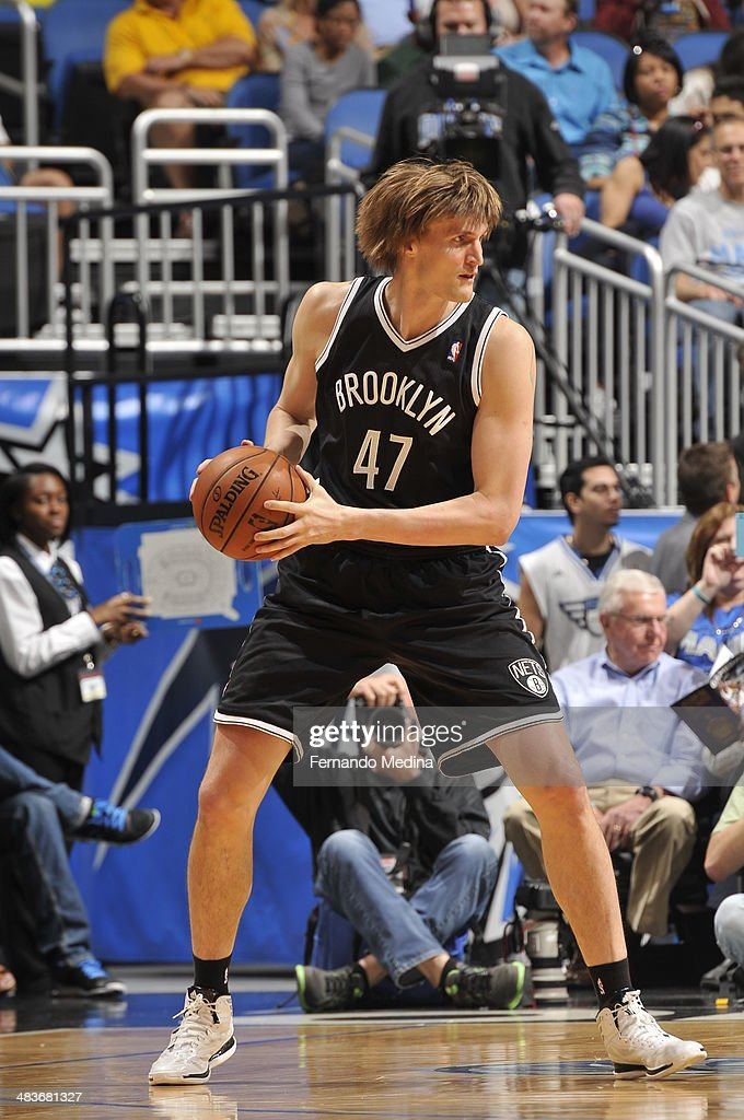 Andrei Kirilenko #47 of the Brooklyn Nets looks to pass the ball against the Orlando Magic during the game on April 9, 2014 at Amway Center in Orlando, Florida.