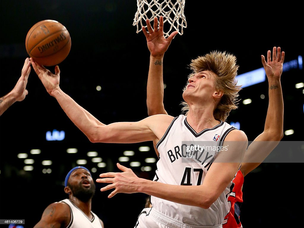 <a gi-track='captionPersonalityLinkClicked' href=/galleries/search?phrase=Andrei+Kirilenko&family=editorial&specificpeople=201909 ng-click='$event.stopPropagation()'>Andrei Kirilenko</a> #47 of the Brooklyn Nets takes a shot in the second half against the Atlanta Hawks at the Barclays Center on January 6, 2014 in the Brooklyn borough of New York City.The Brooklyn Nets defeated the Atlanta Hawks 91-86.