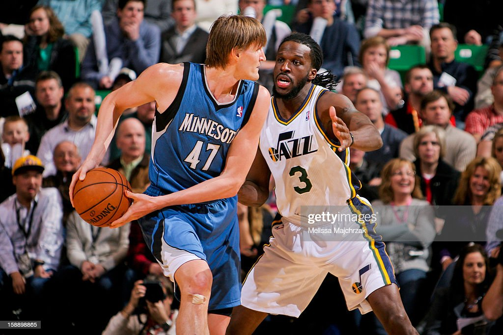 Andrei Kirilenko #47 of the Minnesota Timberwolves controls the ball against DeMarre Carroll #3 of the Utah Jazz at Energy Solutions Arena on January 2, 2013 in Salt Lake City, Utah.