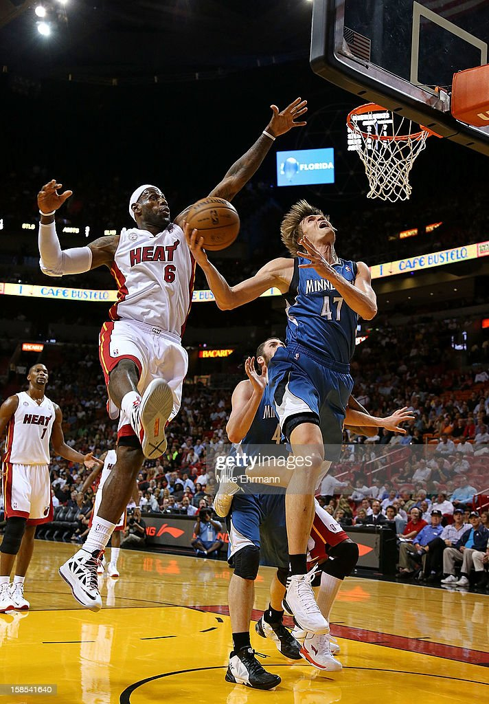 <a gi-track='captionPersonalityLinkClicked' href=/galleries/search?phrase=Andrei+Kirilenko&family=editorial&specificpeople=201909 ng-click='$event.stopPropagation()'>Andrei Kirilenko</a> #47 of the Minnesota Timberwolves drives against <a gi-track='captionPersonalityLinkClicked' href=/galleries/search?phrase=LeBron+James&family=editorial&specificpeople=201474 ng-click='$event.stopPropagation()'>LeBron James</a> #6 of the Miami Heat during a game at American Airlines Arena on December 18, 2012 in Miami, Florida.