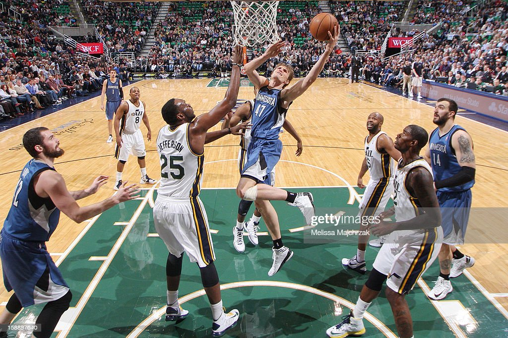 <a gi-track='captionPersonalityLinkClicked' href=/galleries/search?phrase=Andrei+Kirilenko&family=editorial&specificpeople=201909 ng-click='$event.stopPropagation()'>Andrei Kirilenko</a> #47 of the Minnesota Timberwolves drives to the basket against <a gi-track='captionPersonalityLinkClicked' href=/galleries/search?phrase=Al+Jefferson&family=editorial&specificpeople=201604 ng-click='$event.stopPropagation()'>Al Jefferson</a> #25 of the Utah Jazz at Energy Solutions Arena on January 2, 2013 in Salt Lake City, Utah.
