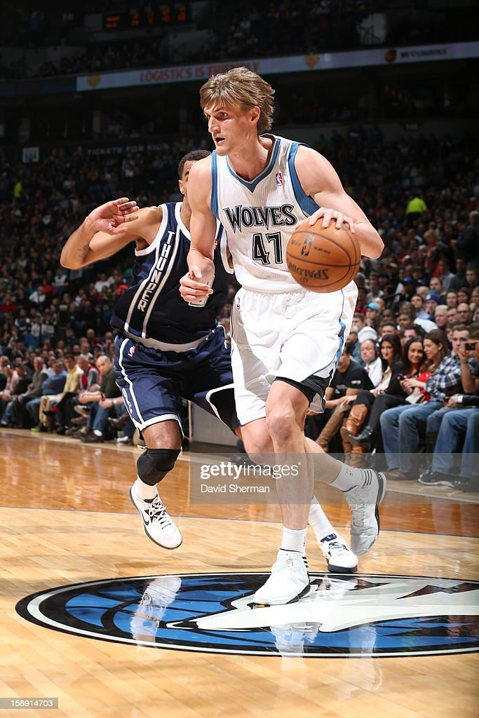 <a gi-track='captionPersonalityLinkClicked' href=/galleries/search?phrase=Andrei+Kirilenko&family=editorial&specificpeople=201909 ng-click='$event.stopPropagation()'>Andrei Kirilenko</a> #47 of the Minnesota Timberwolves drives to the basket against the Oklahoma City Thunder on December 20, 2012 at Target Center in Minneapolis, Minnesota.