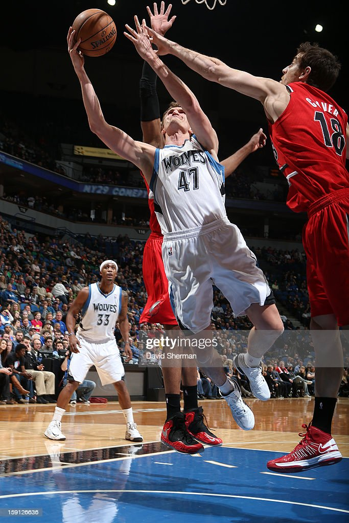 <a gi-track='captionPersonalityLinkClicked' href=/galleries/search?phrase=Andrei+Kirilenko&family=editorial&specificpeople=201909 ng-click='$event.stopPropagation()'>Andrei Kirilenko</a> #47 of the Minnesota Timberwolves drives to the basket against the Portland Trail Blazers on January 5, 2013 at Target Center in Minneapolis, Minnesota.