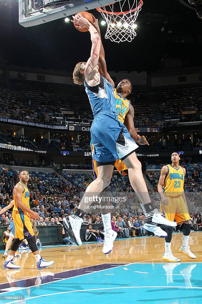 <a gi-track='captionPersonalityLinkClicked' href=/galleries/search?phrase=Andrei+Kirilenko&family=editorial&specificpeople=201909 ng-click='$event.stopPropagation()'>Andrei Kirilenko</a> #47 of the Minnesota Timberwolves drives to the basket against the New Orleans Hornets on January 11, 2013 at the New Orleans Arena in New Orleans, Louisiana.
