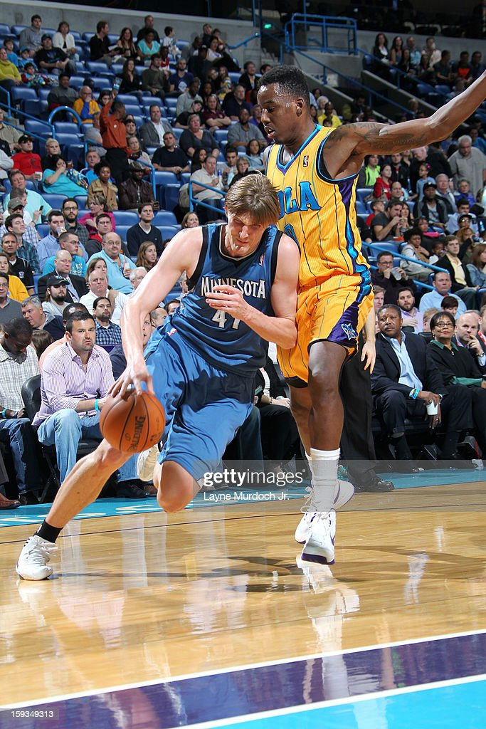 Andrei Kirilenko #47 of the Minnesota Timberwolves drives to the basket against the New Orleans Hornets on January 11, 2013 at the New Orleans Arena in New Orleans, Louisiana.
