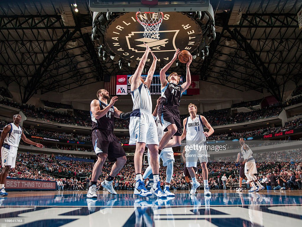 <a gi-track='captionPersonalityLinkClicked' href=/galleries/search?phrase=Andrei+Kirilenko&family=editorial&specificpeople=201909 ng-click='$event.stopPropagation()'>Andrei Kirilenko</a> #47 of the Minnesota Timberwolves drives to the basket against the Dallas Mavericks on January 14, 2013 at the American Airlines Center in Dallas, Texas.