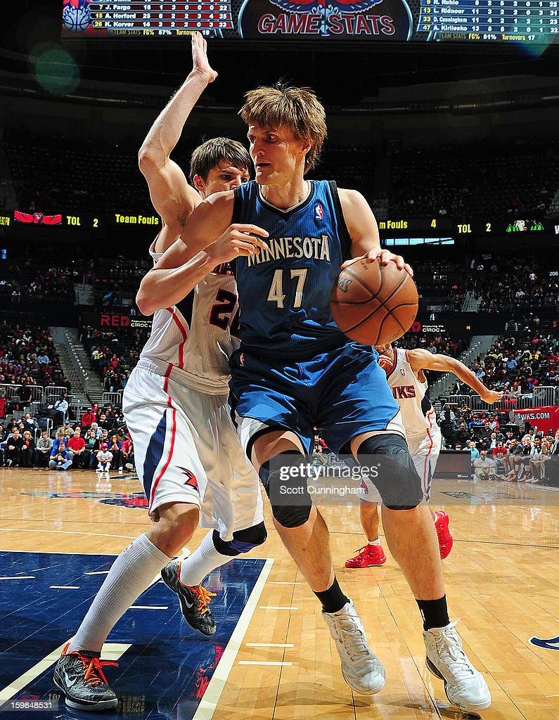 <a gi-track='captionPersonalityLinkClicked' href=/galleries/search?phrase=Andrei+Kirilenko&family=editorial&specificpeople=201909 ng-click='$event.stopPropagation()'>Andrei Kirilenko</a> #47 of the Minnesota Timberwolves drives to the basket against the Atlanta Hawks on January 21, 2013 at Philips Arena in Atlanta, Georgia.