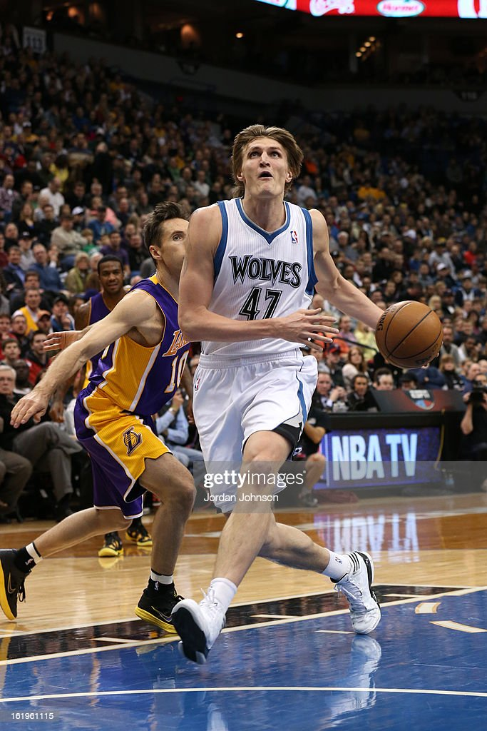 <a gi-track='captionPersonalityLinkClicked' href=/galleries/search?phrase=Andrei+Kirilenko&family=editorial&specificpeople=201909 ng-click='$event.stopPropagation()'>Andrei Kirilenko</a> #47 of the Minnesota Timberwolves drives to the basket against the Los Angeles Lakers on February 1, 2013 at Target Center in Minneapolis, Minnesota.