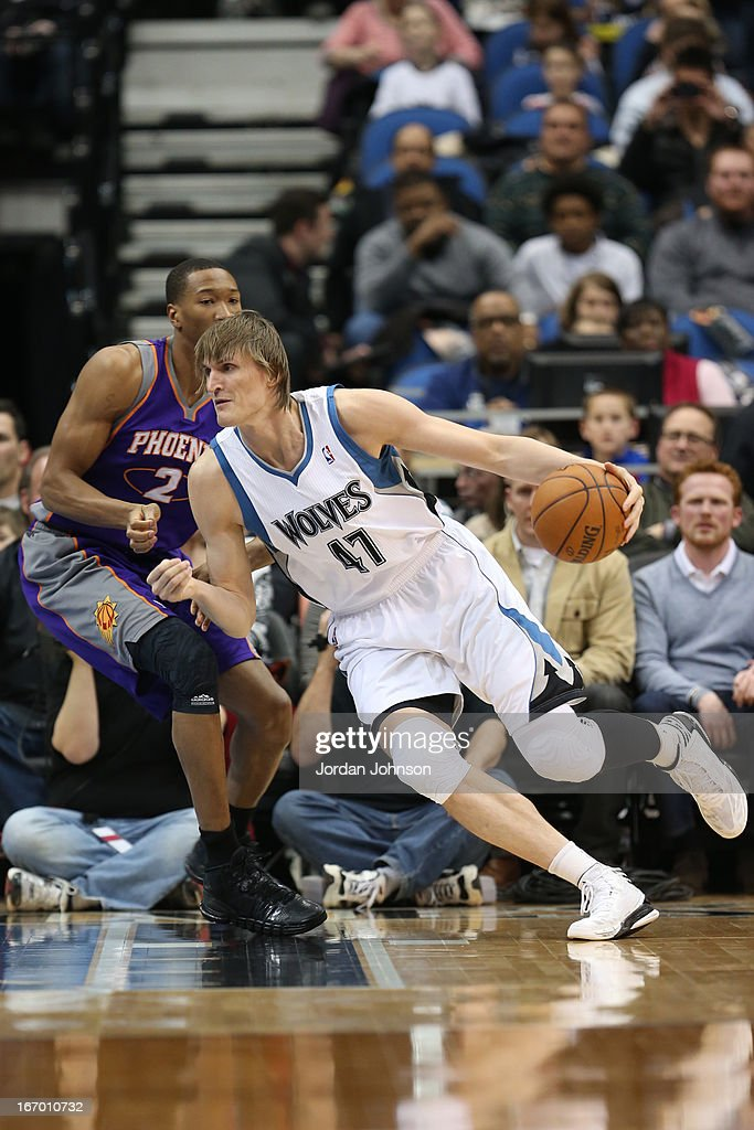 <a gi-track='captionPersonalityLinkClicked' href=/galleries/search?phrase=Andrei+Kirilenko&family=editorial&specificpeople=201909 ng-click='$event.stopPropagation()'>Andrei Kirilenko</a> #47 of the Minnesota Timberwolves drives to the basket against the Phoenix Suns on April 13, 2013 at Target Center in Minneapolis, Minnesota.