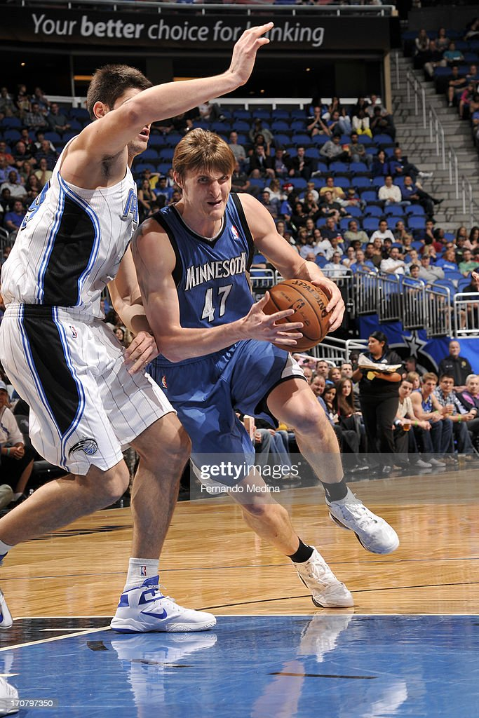 <a gi-track='captionPersonalityLinkClicked' href=/galleries/search?phrase=Andrei+Kirilenko&family=editorial&specificpeople=201909 ng-click='$event.stopPropagation()'>Andrei Kirilenko</a> #47 of the Minnesota Timberwolves drives to the basket against the Orlando Magic on December 17, 2012 at Amway Center in Orlando, Florida.