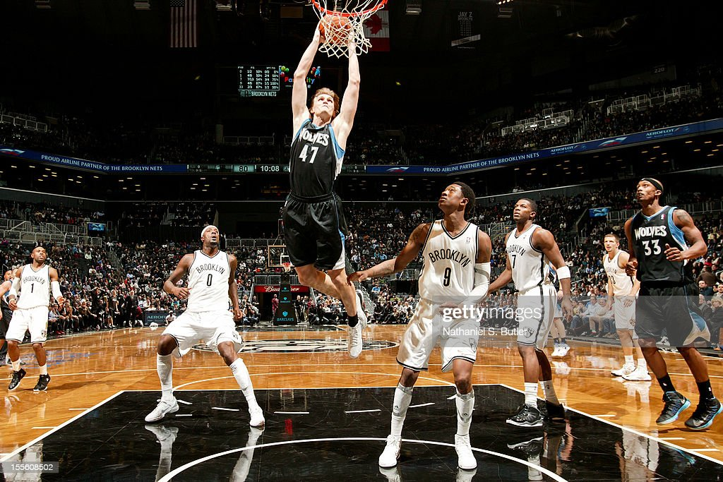 <a gi-track='captionPersonalityLinkClicked' href=/galleries/search?phrase=Andrei+Kirilenko&family=editorial&specificpeople=201909 ng-click='$event.stopPropagation()'>Andrei Kirilenko</a> #47 of the Minnesota Timberwolves dunks against the Brooklyn Nets on November 5, 2012 at the Barclays Center in Brooklyn, New York.