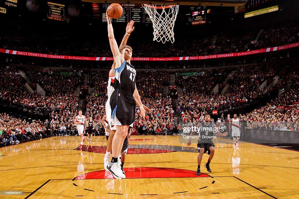 Andrei Kirilenko #47 of the Minnesota Timberwolves dunks against the Portland Trail Blazers on November 23, 2012 at the Rose Garden Arena in Portland, Oregon.