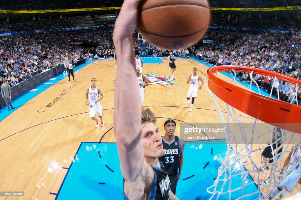 Andrei Kirilenko #47 of the Minnesota Timberwolves dunks against the Oklahoma City Thunder on January 9, 2013 at the Chesapeake Energy Arena in Oklahoma City, Oklahoma.