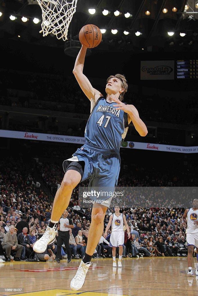 Andrei Kirilenko #47 of the Minnesota Timberwolves dunks the ball against the Golden State Warriors on November 24, 2012 at Oracle Arena in Oakland, California.