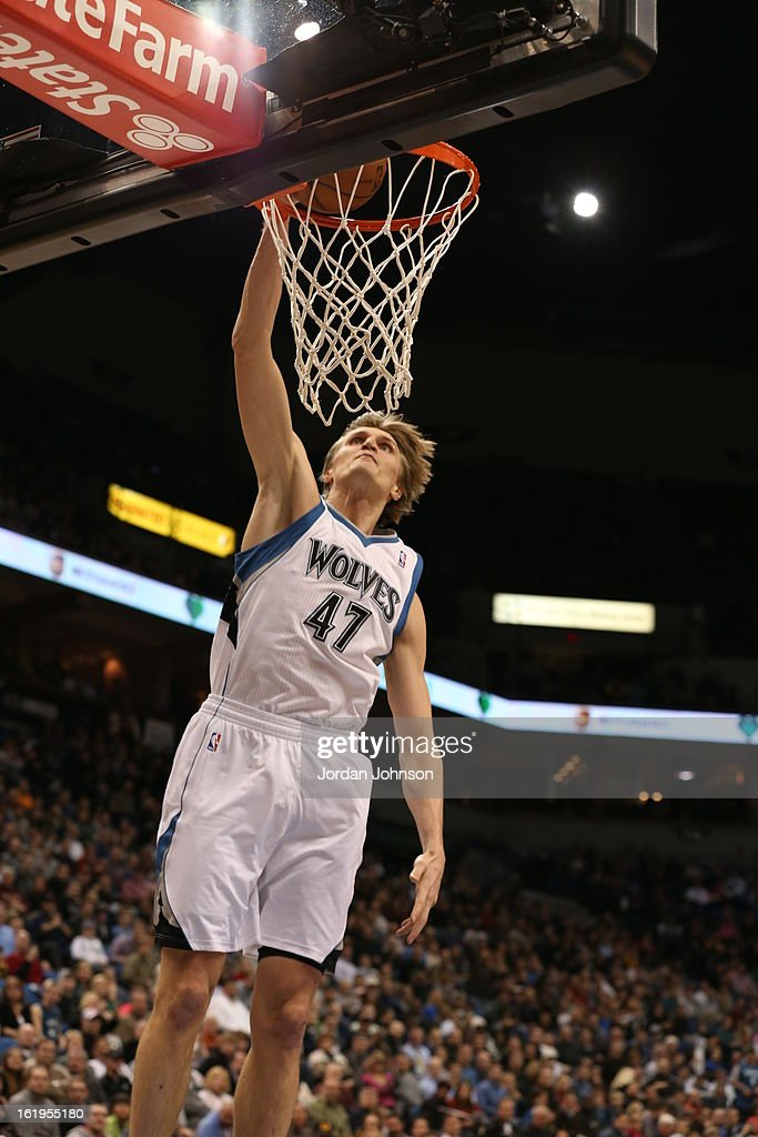 Andrei Kirilenko #47 of the Minnesota Timberwolves dunks the ball against the Los Angeles Clippers on January 17, 2013 at Target Center in Minneapolis, Minnesota.