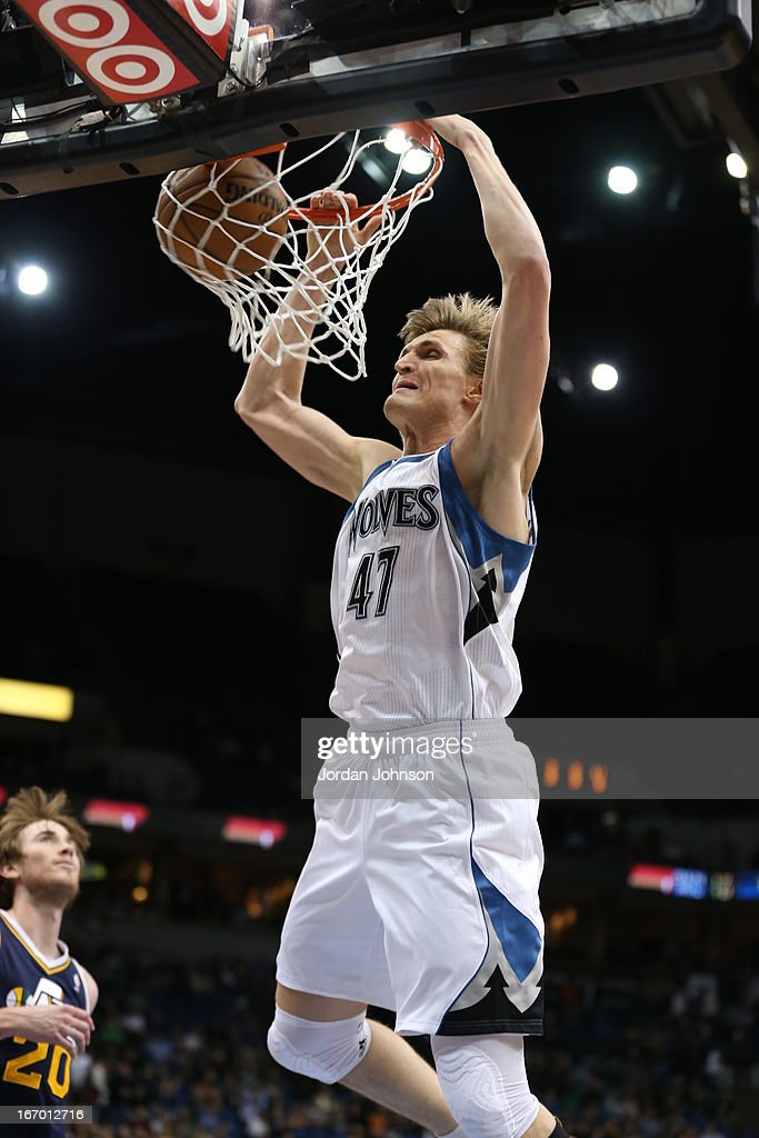 <a gi-track='captionPersonalityLinkClicked' href=/galleries/search?phrase=Andrei+Kirilenko&family=editorial&specificpeople=201909 ng-click='$event.stopPropagation()'>Andrei Kirilenko</a> #47 of the Minnesota Timberwolves dunks the ball against the Utah Jazz on April 15, 2013 at Target Center in Minneapolis, Minnesota.