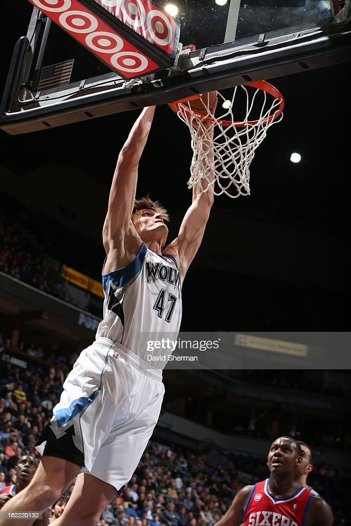 Andrei Kirilenko #47 of the Minnesota Timberwolves dunks the ball during the game between Philadelphia 76ers and the Minnesota Timberwolves on February 20, 2013 at Target Center in Minneapolis, Minnesota.