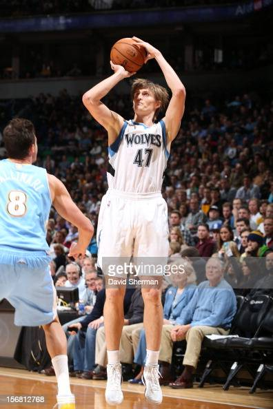 Andrei Kirilenko of the Minnesota Timberwolves goes for a jump shot during the game between the Minnesota Timberwolves and the Denver Nuggets on...