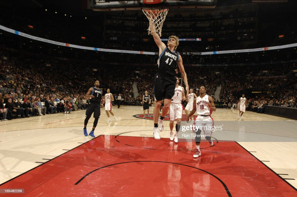 Andrei Kirilenko #47 of the Minnesota Timberwolves goes for the dunk vs the Toronto Raptors during the game on November 4, 2012 at the Air Canada Centre in Toronto, Ontario, Canada.