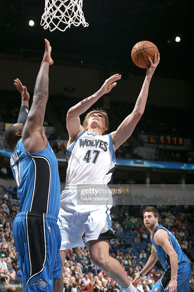 Andrei Kirilenko #47 of the Minnesota Timberwolves goes to the basket during the game between the Minnesota Timberwolves and the Orlando Magic on November 7, 2012 at Target Center in Minneapolis, Minnesota.