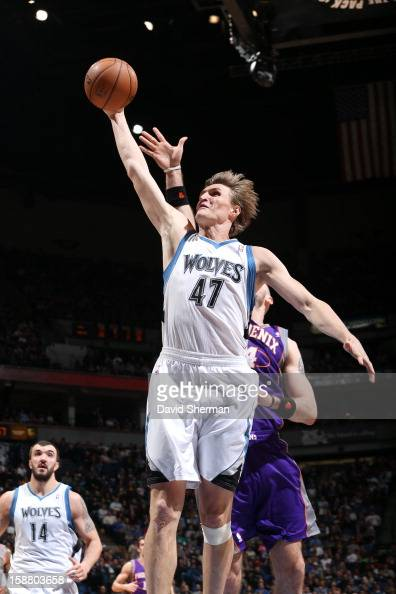 Andrei Kirilenko of the Minnesota Timberwolves goes to the basket during the game between the Minnesota Timberwolves and the Phoenix Suns during the...