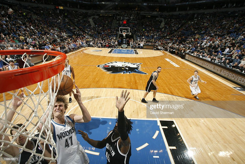 Andrei Kirilenko #47 of the Minnesota Timberwolves goes to the basket during the game between the Minnesota Timberwolves and the Brooklyn Nets on January 23, 2013 at Target Center in Minneapolis, Minnesota.