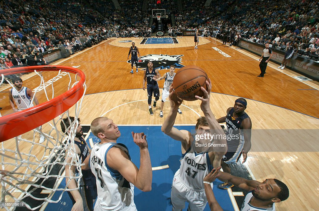 Andrei Kirilenko #47 of the Minnesota Timberwolves goes to the basket during the game between the Memphis Grizzlies and the Minnesota Timberwolves on March 30, 2013 at Target Center in Minneapolis, Minnesota.