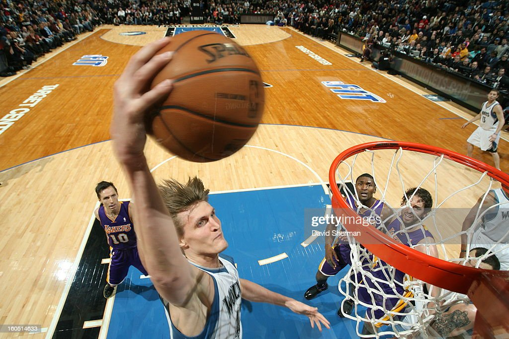 Andrei Kirilenko #47 of the Minnesota Timberwolves goes up for the dunk against the Los Angeles Lakers during the game on February 1, 2013 at Target Center in Minneapolis, Minnesota.