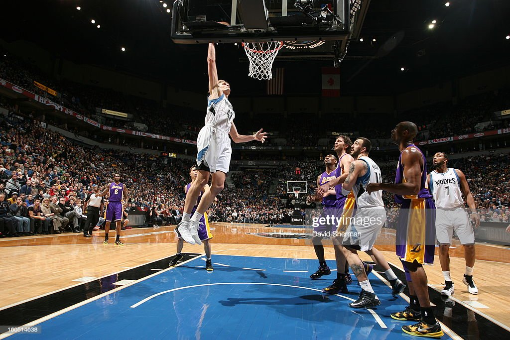 <a gi-track='captionPersonalityLinkClicked' href=/galleries/search?phrase=Andrei+Kirilenko&family=editorial&specificpeople=201909 ng-click='$event.stopPropagation()'>Andrei Kirilenko</a> #47 of the Minnesota Timberwolves goes up for the dunk against the Los Angeles Lakers during the game on February 1, 2013 at Target Center in Minneapolis, Minnesota.