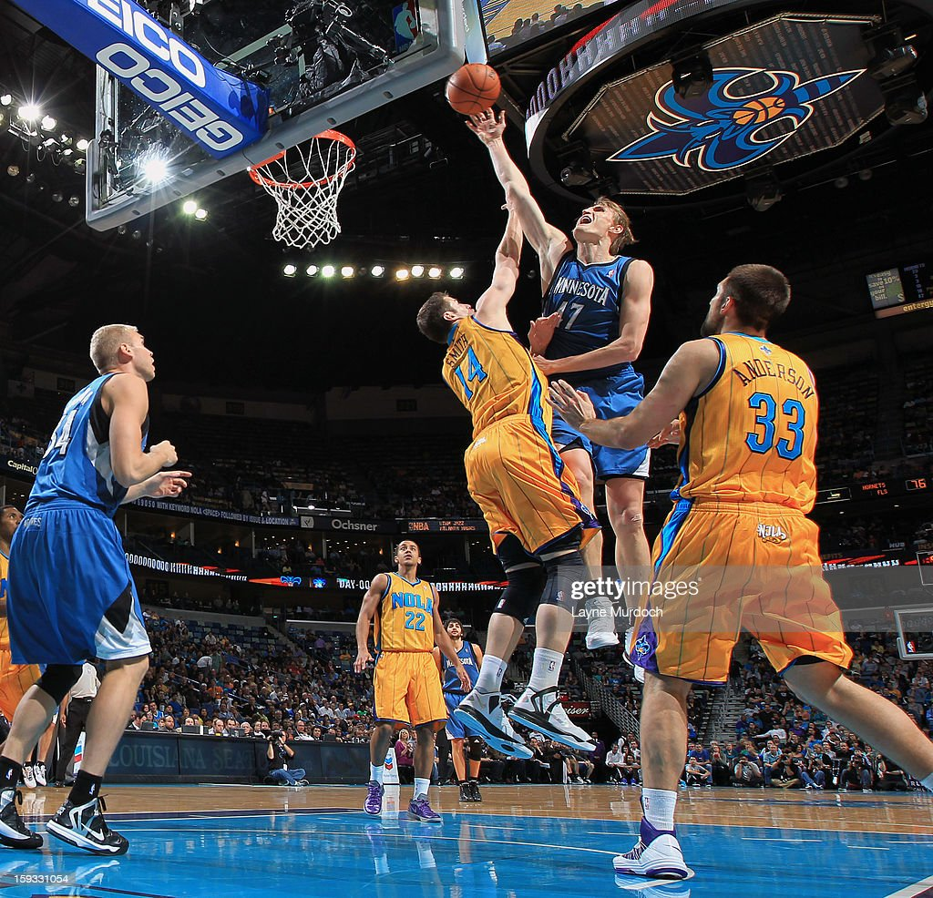 Andrei Kirilenko #47 of the Minnesota Timberwolves goes up for the shot against Jason Smith #12 of the New Orleans Hornets on January 11, 2013 at the New Orleans Arena in New Orleans, Louisiana.