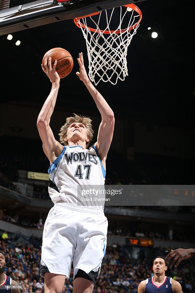 Andrei Kirilenko #47 of the Minnesota Timberwolves goes up strong to the basket against the Atlanta Hawks during the game on January 8, 2013 at Target Center in Minneapolis, Minnesota.
