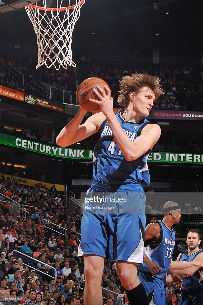 Andrei Kirilenko #47 of the Minnesota Timberwolves grabs a rebound against the Phoenix Suns on March 22, 2013 at U.S. Airways Center in Phoenix, Arizona.