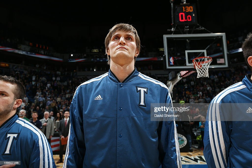 Andrei Kirilenko #47 of the Minnesota Timberwolves looks on during the National Athnem before the game against the Atlanta Hawks on January 8, 2013 at Target Center in Minneapolis, Minnesota.