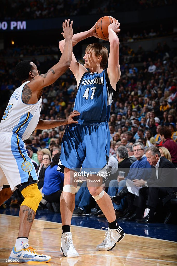 <a gi-track='captionPersonalityLinkClicked' href=/galleries/search?phrase=Andrei+Kirilenko&family=editorial&specificpeople=201909 ng-click='$event.stopPropagation()'>Andrei Kirilenko</a> #47 of the Minnesota Timberwolves looks to pass the ball against <a gi-track='captionPersonalityLinkClicked' href=/galleries/search?phrase=Andre+Iguodala&family=editorial&specificpeople=201980 ng-click='$event.stopPropagation()'>Andre Iguodala</a> #9 of the Denver Nuggets on January 3, 2013 at the Pepsi Center in Denver, Colorado.