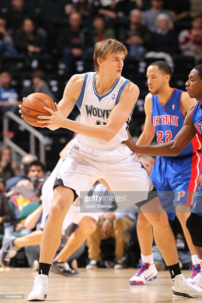 Andrei Kirilenko #47 of the Minnesota Timberwolves protects the ball during the game between the Minnesota Timberwolves and the Detroit Pistons during the NBA preseason as part of NBA Canada Series 2012 on October 24, 2012 at the MTS Centre in Winnipeg, Manitoba, Canada.
