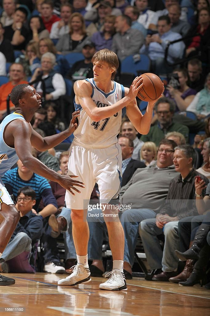 Andrei Kirilenko #47 of the Minnesota Timberwolves protects the ball during the game between the Minnesota Timberwolves and the Denver Nuggets on November 21, 2012 at Target Center in Minneapolis, Minnesota.