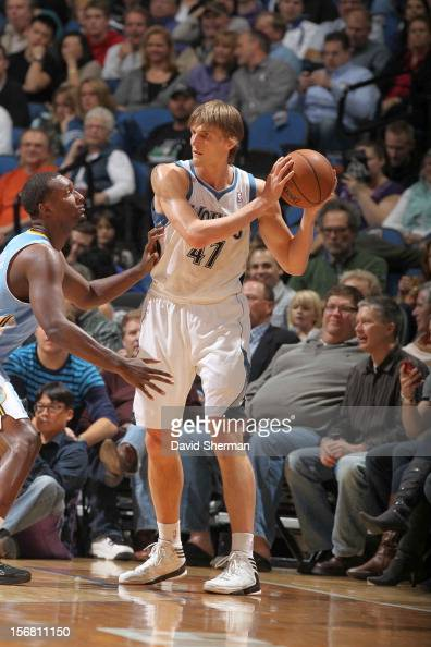Andrei Kirilenko of the Minnesota Timberwolves protects the ball during the game between the Minnesota Timberwolves and the Denver Nuggets on...