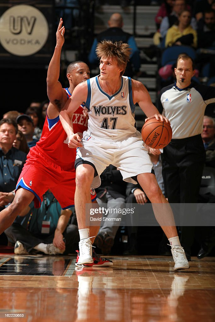 Andrei Kirilenko #47 of the Minnesota Timberwolves protects the ball during the game between Philadelphia 76ers and the Minnesota Timberwolves on February 20, 2013 at Target Center in Minneapolis, Minnesota.