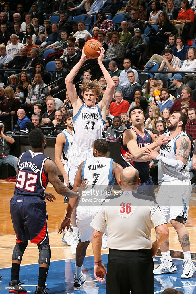 <a gi-track='captionPersonalityLinkClicked' href=/galleries/search?phrase=Andrei+Kirilenko&family=editorial&specificpeople=201909 ng-click='$event.stopPropagation()'>Andrei Kirilenko</a> #47 of the Minnesota Timberwolves rebounds against the Atlanta Hawks on January 8, 2013 at Target Center in Minneapolis, Minnesota.