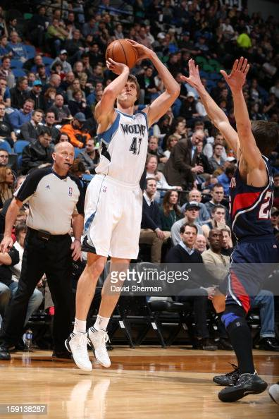 Andrei Kirilenko of the Minnesota Timberwolves shoots a three point shot against the Atlanta Hawks during the game on January 8 2013 at Target Center...