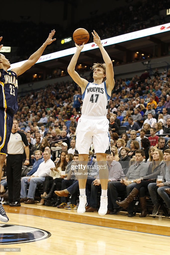 <a gi-track='captionPersonalityLinkClicked' href=/galleries/search?phrase=Andrei+Kirilenko&family=editorial&specificpeople=201909 ng-click='$event.stopPropagation()'>Andrei Kirilenko</a> #47 of the Minnesota Timberwolves shoots against the Indiana Pacers on November 9, 2012 at Target Center in Minneapolis, Minnesota.