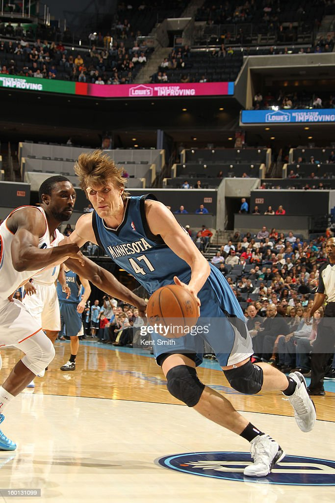 Andrei Kirilenko #47 of the Minnesota Timberwolves shoots against the Charlotte Bobcats at the Time Warner Cable Arena on January 26, 2013 in Charlotte, North Carolina.