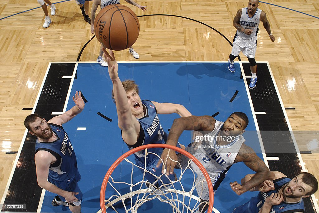 <a gi-track='captionPersonalityLinkClicked' href=/galleries/search?phrase=Andrei+Kirilenko&family=editorial&specificpeople=201909 ng-click='$event.stopPropagation()'>Andrei Kirilenko</a> #47 of the Minnesota Timberwolves shoots against the Orlando Magic on December 17, 2012 at Amway Center in Orlando, Florida.